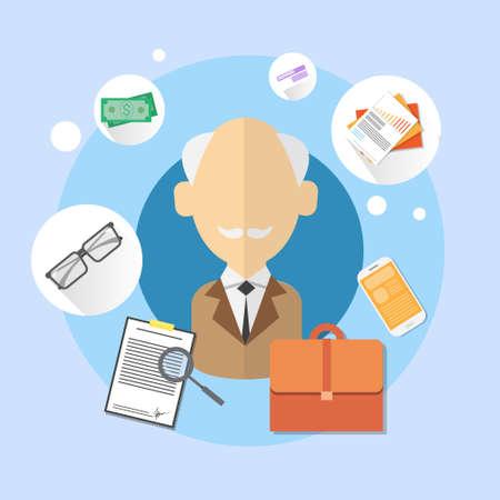 bank office: Pensioner Senior Man Bank Office Client Icon Flat Vector Illustration
