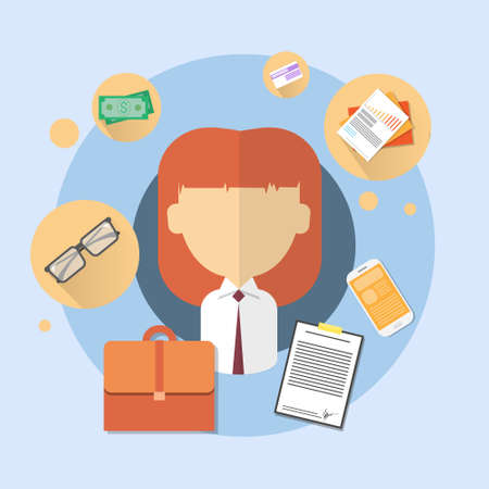 bank office: Business Woman Bank Office Worker Icon Flat Vector Illustration
