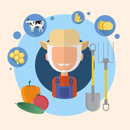Farmer Senior Man Agriculture Icon Flat Vector Illustration Illustration