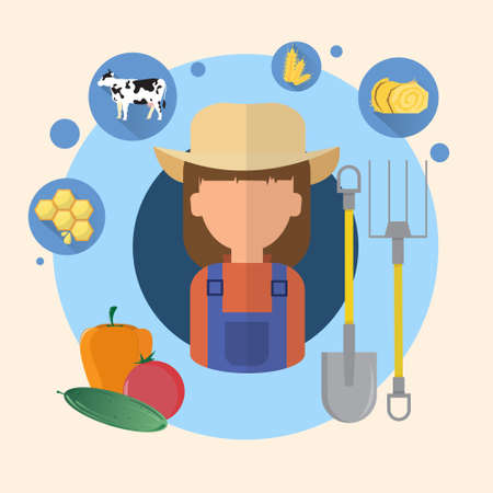 an agronomist: Farmer Woman Agriculture Icon Flat Vector Illustration
