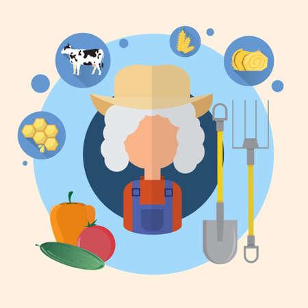 villager: Farmer Senior Woman Agriculture Icon Flat Vector Illustration