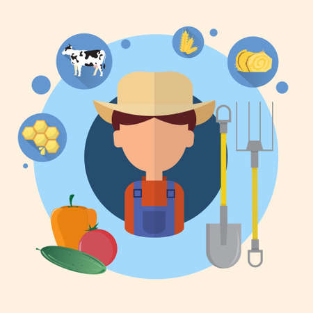 an agronomist: Farmer Man Agriculture Icon Flat Vector Illustration