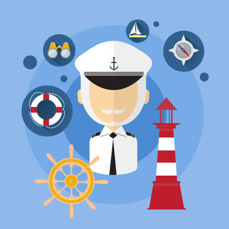 captain ship: Sailor Man Captain Ship Crew Icon Flat Vector Illustration