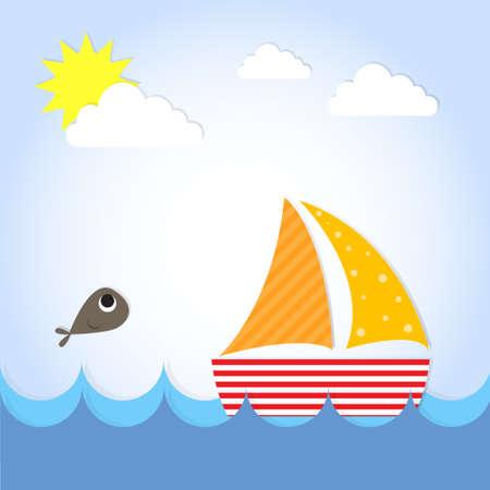 wave tourist: Sail Yacht Boat On See Flat Vector Illustration Illustration