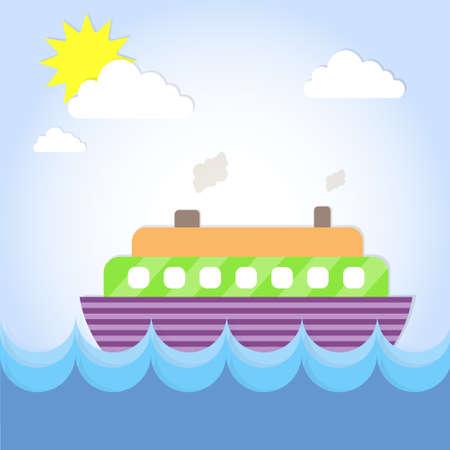caribbean cruise: Cruise Ship Liner Summer Ocean Vacation Flat Vector Illustration