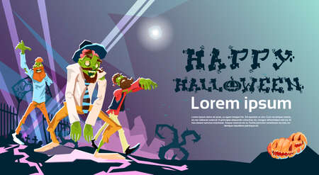corpse: Zombie Hipster Group Happy Halloween Party Invitation Card Flat Vector Illustration