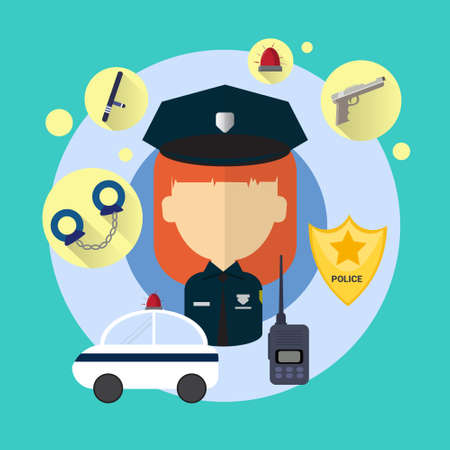 mujer policia: Oficial de policía mujer icono plano Vector ilustración