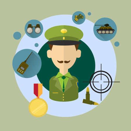 commander: Military Man Commander Icon Flat Vector Illustration