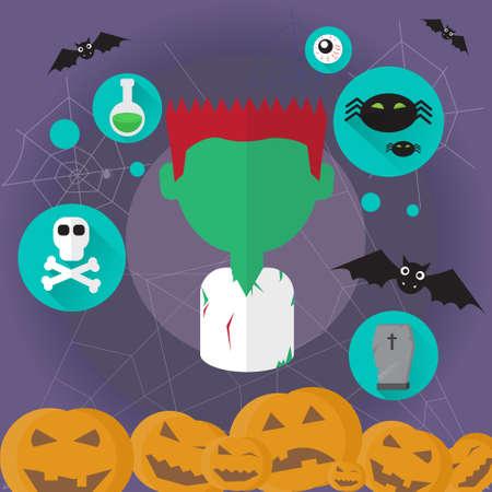 walking corpse: Zombie Dead Man Flat Icon Halloween Vector Illustration