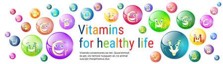 nutrientes: Ilustración Vitaminas Nutrientes Minerales Bandera colorida vida saludable Nutrición Química Elemento Concept plana vectorial