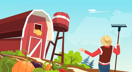 an agronomist: Farmer Working On Farm Field Crop Flat Vector Illustration