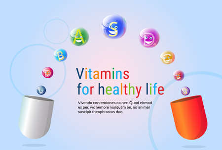 nutrient: Capsule With Vitamins Nutrient Minerals Colorful Banner Healthy Life Nutrition Chemistry Element Concept Flat Vector Illustration