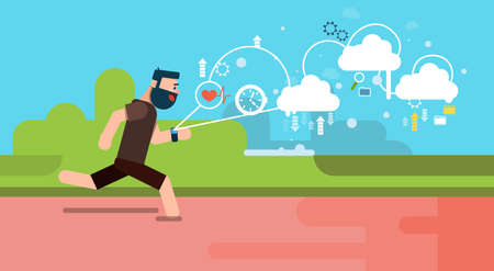 Ilustración hombre Ejecutar Aplicación Fitness Rastreador Wearable tecnologías inteligentes reloj plano vectorial