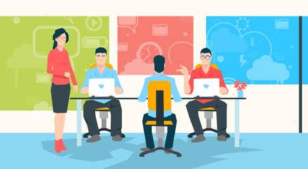 university professor: Businesswoman Teacher People Group Working On Laptop University Professor Students Flat Vector Illustration Illustration