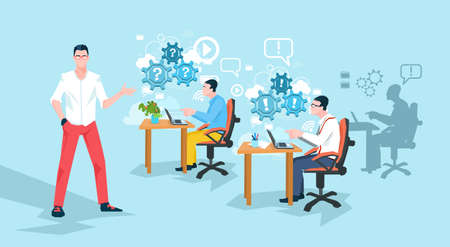 programmers: Programmers Working Office Business People Team Workplace Flat Vector Illustration
