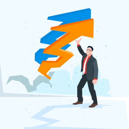 financial success: Business Man Arrow Up Financial Success Concept Flat Vector Illustration