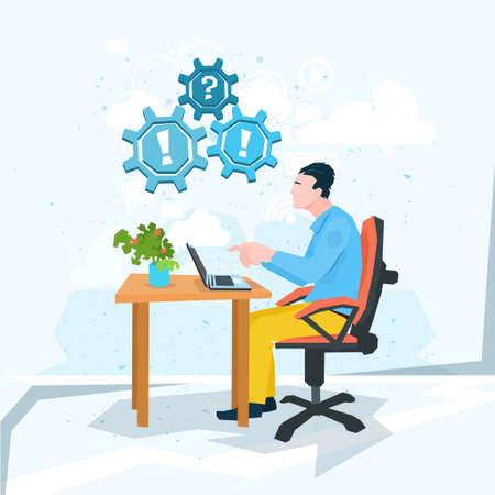 computer problem: Business Man Work Laptop Computer Problem Question Exclamation Mark Flat Vector Illustration