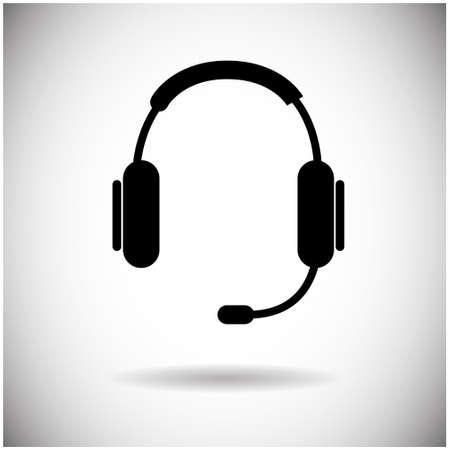 phone call: Headphones Web Icon Black Earphones Flat Vector Illustration