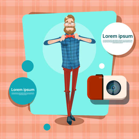 communication cartoon: Man Hipster Style Fashion Cartoon Guy Casual Person Social Network Communication Avatar Flat Vector Illustration