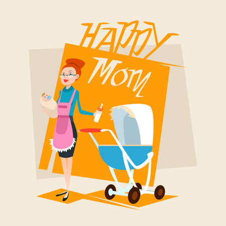 Happy Mother With Baby Newborn Pram Flat Vector Illustration