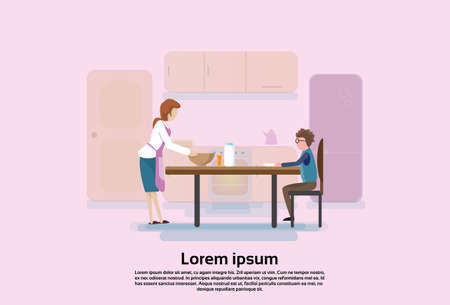 De moeder met Zoon in Keuken, Jongen eet de Vlakke Vectorillustratie van de Ontbijtochtend