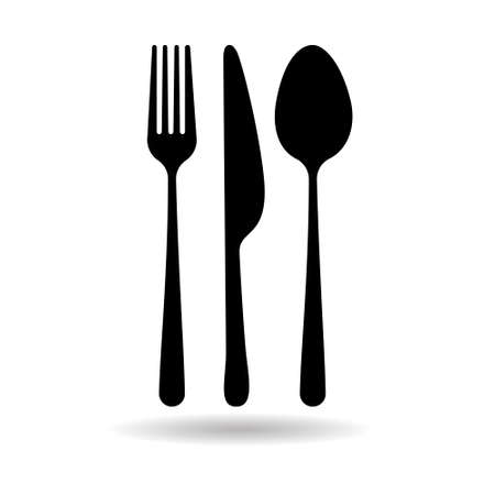 Spoon Fork Knife Web Icon Flat Vector Illustration