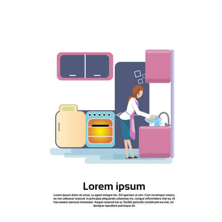 kitchen sink: Young Woman Wash Dishes In Kitchen Sink Flat Vector Illustration