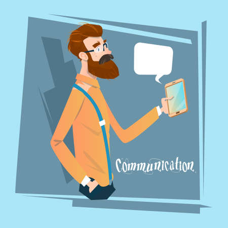 using smart phone: Man Chatting Texting, Businessman Using Cell Smart Phone Social Network Communication Flat Vector Illustration