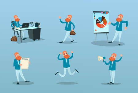 puntualidad: El hombre de negocios de trabajo de gestión del tiempo, la ilustración de marketing Finanzas Presentación establecer plano vectorial Vectores