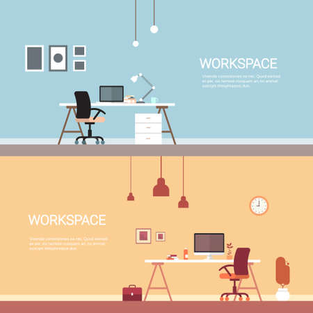 no people: Empty Workplace, Desk Chair Computer Workspace Office No People Flat Vector Illustration