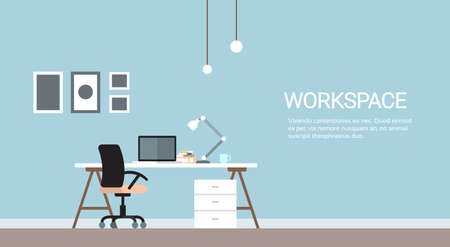 Empty Workplace, Desk Chair Computer Workspace Office No People Flat Vector Illustration