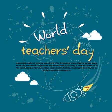 International Teacher Day World Holiday Banner Flat Vector Illustration