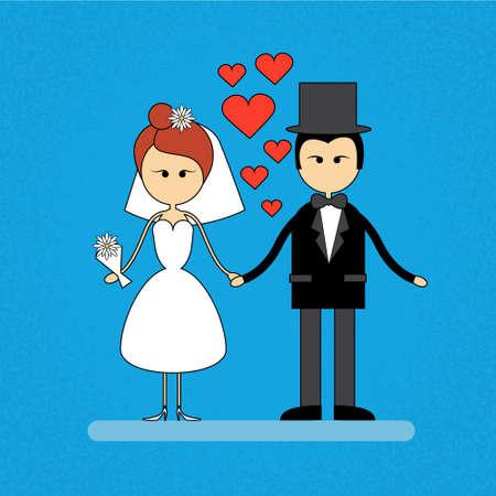 fiance: Cartoon Marriage Couple Fiance And Bride Wear Wedding Dress Holding Hands Vector Illustration Illustration