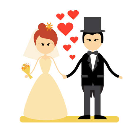 fiance: Cartoon Marriage Couple Fiance And Bride Wear Wedding Dress Holding Hands Flat Vector Illustration