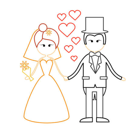 fiance: Cartoon Marriage Couple Fiance And Bride Wear Wedding Dress Holding Hands Vector Illustration Illustration