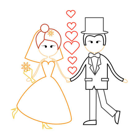 fiance: Cartoon Marriage Couple Fiance And Bride Wear Wedding Dress Holding Hands Dancing Vector Illustration Illustration