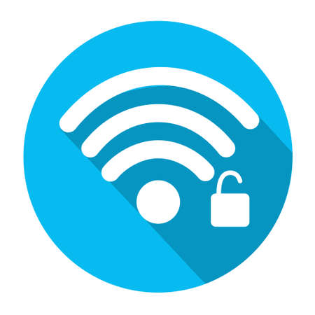 wireless connection: Wifi Signal Icon Locked Wireless Connection Flat Vector Illustration