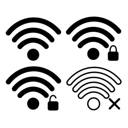 locked: Wifi Signal Icon Free, Locked Wireless Connection Flat Vector Illustration