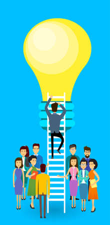 asian business people: Asian Business People Group Businessman Climb Up Ladder Stairs To Light Bulb New Idea Concept Asia Businesspeople Team Flat Vector Illustration