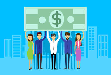 asian business: Asian Business People Group Hold Dollar Banknote Concept Finance Investment Flat Vector Illustration Illustration