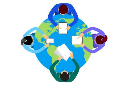 Business People Sitting Desk Globe Top View Global International Collaboration Flat Vector Illustration Illustration