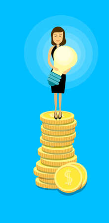 asian business: Asian Business Woman Stand On Coins Hold Light Bulb Success Idea Wealth Concept Flat Vector Illustration Illustration