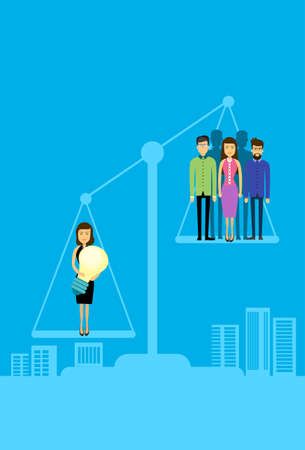 asian business people: Asian Business People Group On Balance Scale Businesswoman Hold Light Bulb Flat Vector Illustration
