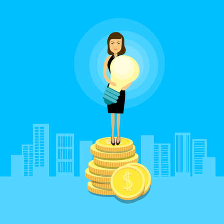 asian business: Asian Business Woman Stand On Coins Hold Light Bulb Flat Vector Illustration