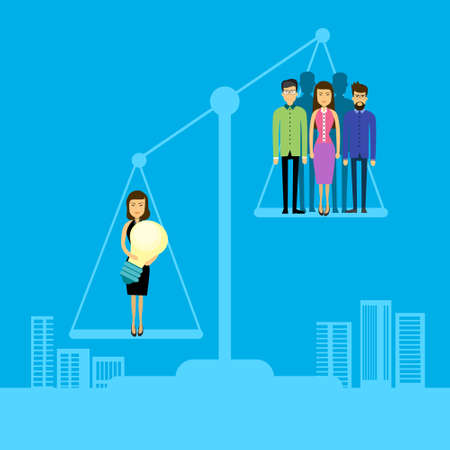 Asian Business People Group On Balance Scale Businesswoman Hold Light Bulb Flat Vector Illustration