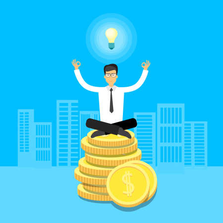 asian business: Asian Business Man Sit Yoga Lotus Pose On Coins Light Bulb Flat Vector Illustration