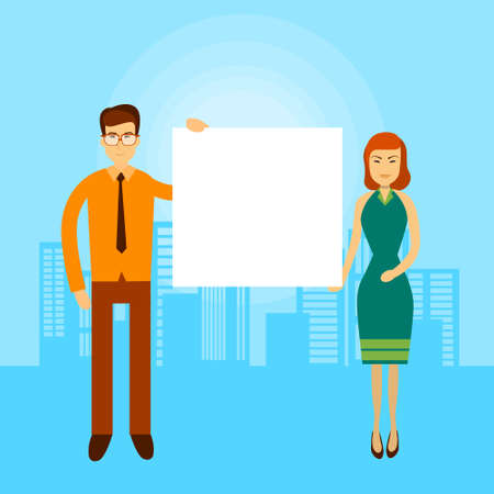 asian business: Asian Business Man Woman Hold Empty Banner Copy Space City Background Flat Vector Illustration
