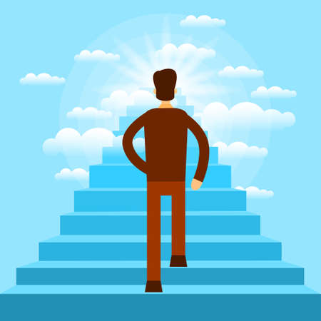 man rear view: Businessman Walking Up Stairs to Sky Business Man Rear View Flat Vector Illustration