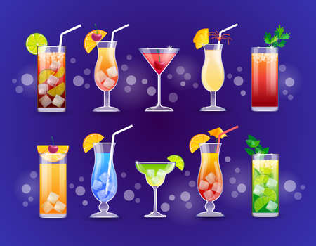 Alcohol Cocktail Set Glasses Drinks Flat Vector Illustration