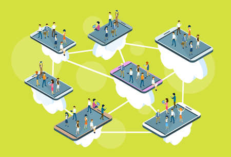 woman cellphone: Business People Stand On Big Cell Smart Phone Social Network Communication Man Woman 3d Isometric Vector Illustration Illustration